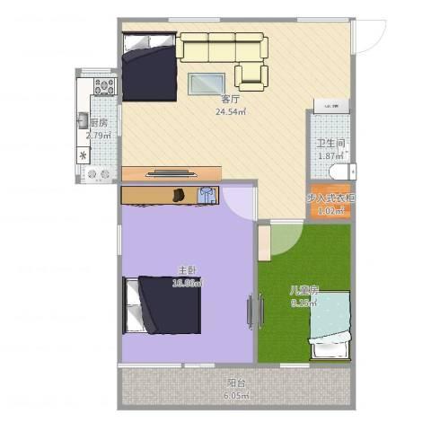 八角北里2室1厅1卫1厨78.00㎡户型图