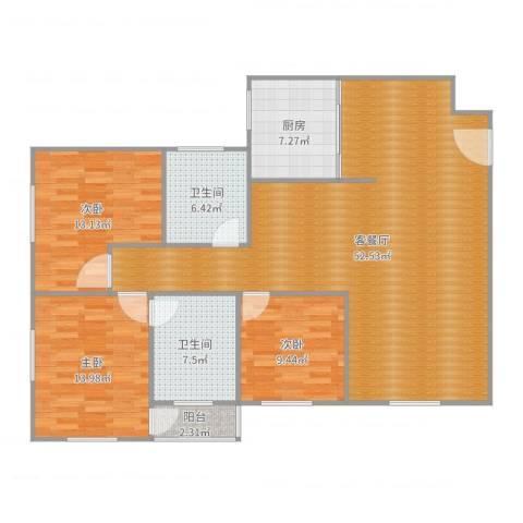 金海花园3室2厅2卫1厨141.00㎡户型图