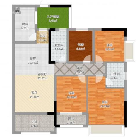 都市兰亭4室2厅2卫1厨130.00㎡户型图