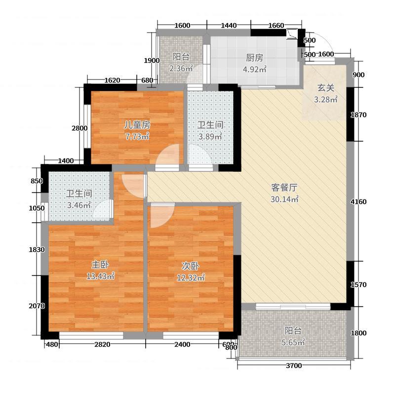 桂林华润中心98.00㎡中央公园3B户型3室3厅2卫1厨