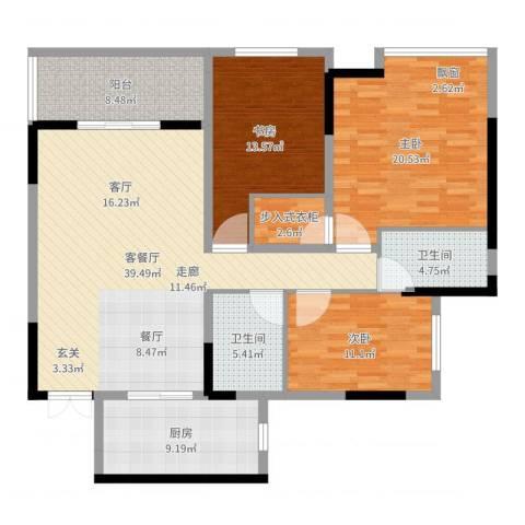 江南世家3室2厅2卫1厨144.00㎡户型图
