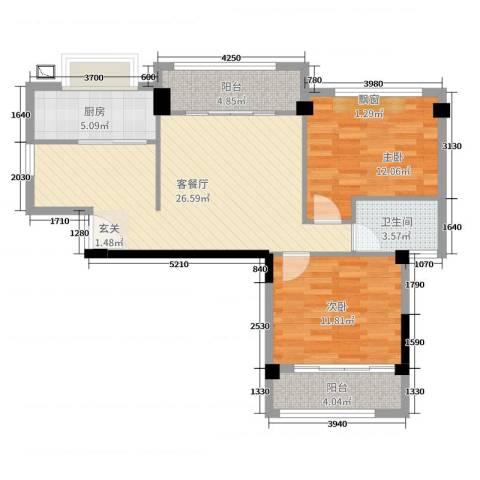 永鸿御珑湾2室2厅1卫1厨85.00㎡户型图