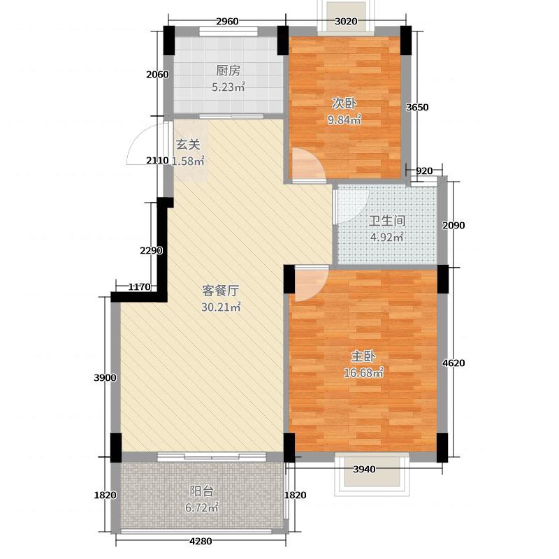 浔南・理想家园92.01㎡二期G户型2室2厅1卫1厨