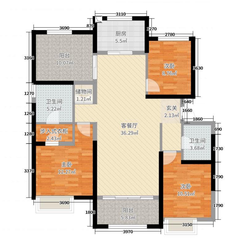 保利香槟国际143.00㎡4#C3户型3室3厅2卫1厨