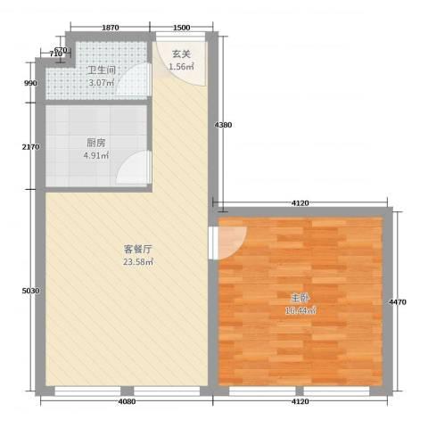 贝尔紫园1室2厅1卫1厨48.00㎡户型图