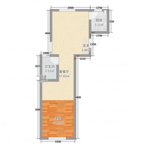 贝尔紫园2厅1卫1厨44.10㎡户型图