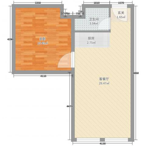贝尔紫园1室2厅1卫0厨48.00㎡户型图
