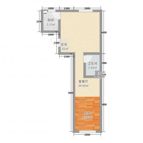 贝尔紫园2厅1卫1厨40.79㎡户型图