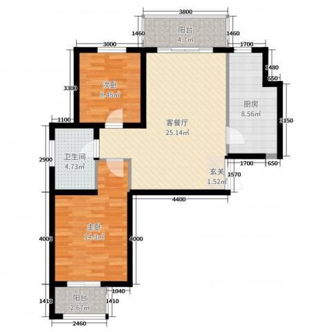 贝尔紫园2室2厅1卫1厨68.55㎡户型图
