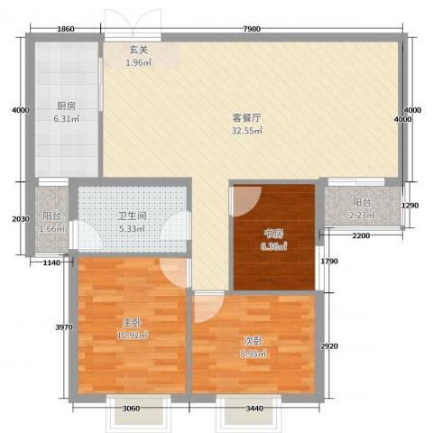 贝尔紫园3室2厅1卫1厨74.31㎡户型图