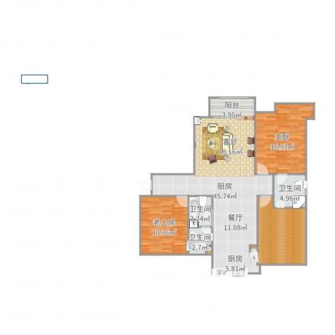 金域首府2室1厅5卫1厨131.00㎡户型图