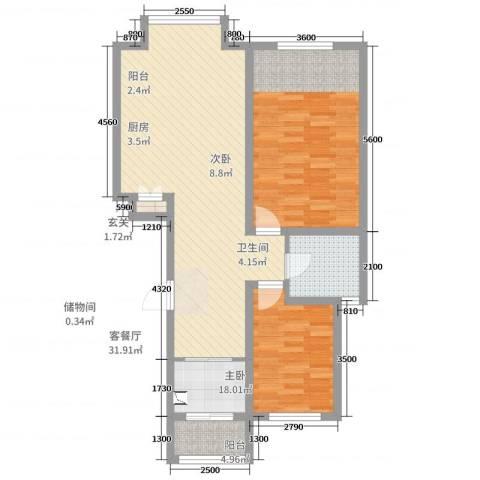 鑫阳家园2室2厅1卫1厨100.00㎡户型图