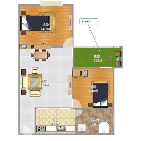 龙津东路龙津商贸大厦911房2室1厅1卫1厨64.00㎡户型图