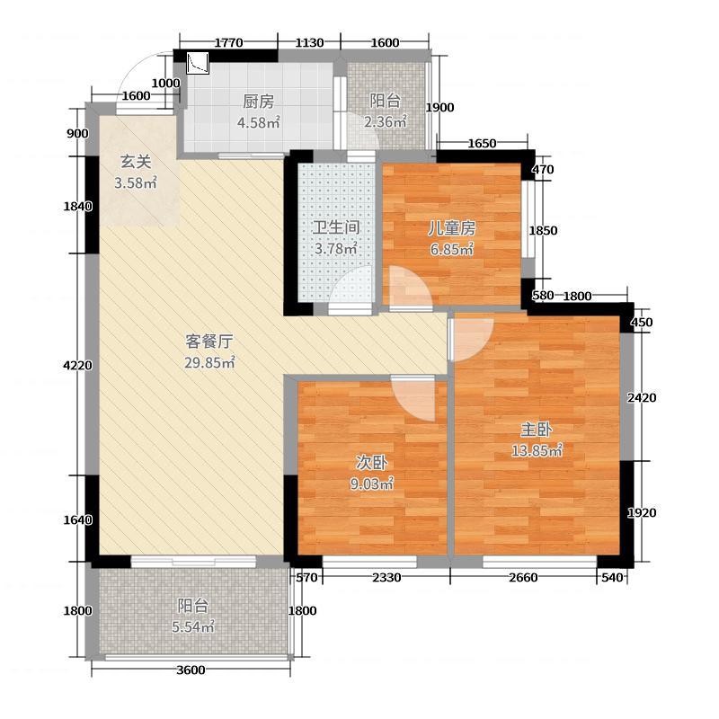 桂林华润中心86.00㎡中央公园3A户型3室3厅1卫1厨