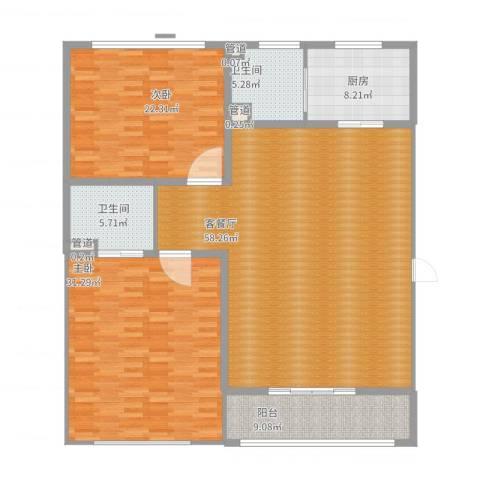 春晖路司法警官学校2室2厅2卫1厨192.00㎡户型图