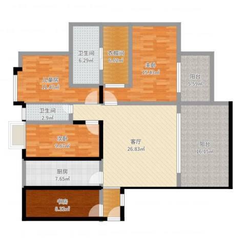 中海国际社区橙郡4室1厅2卫1厨148.00㎡户型图