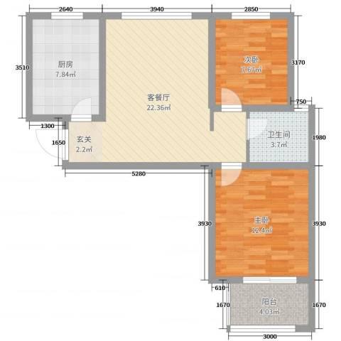 绿博景苑2室2厅1卫1厨72.00㎡户型图