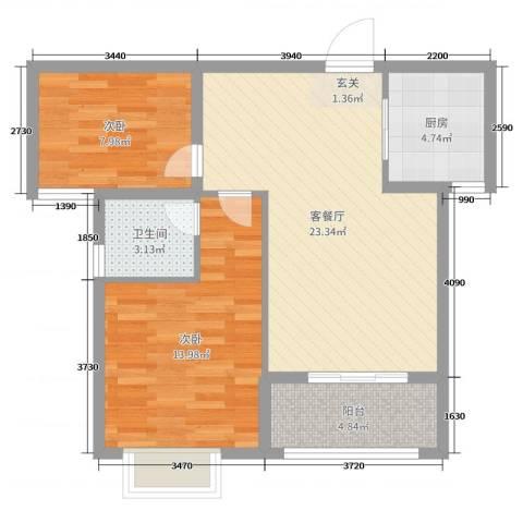 绿博景苑2室2厅1卫1厨73.00㎡户型图