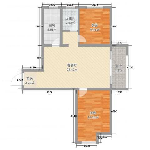 绿博景苑2室2厅1卫1厨80.00㎡户型图