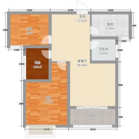 绿博景苑3室2厅1卫1厨88.00㎡户型图
