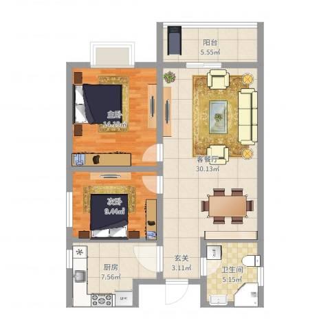玉门河小区2室2厅1卫1厨90.00㎡户型图