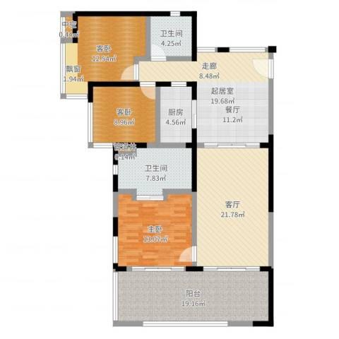 华润・石梅湾九里3室1厅2卫1厨140.00㎡户型图