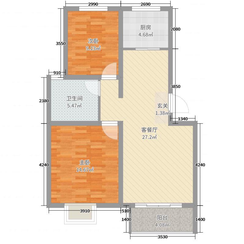 学林雅苑81.45㎡A户型2室2厅1卫