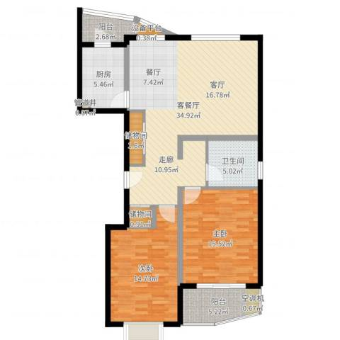 夏阳湖国际花园2室2厅1卫1厨108.00㎡户型图