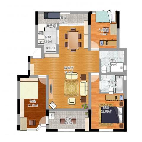 金浦御龙湾3室2厅2卫1厨106.00㎡户型图