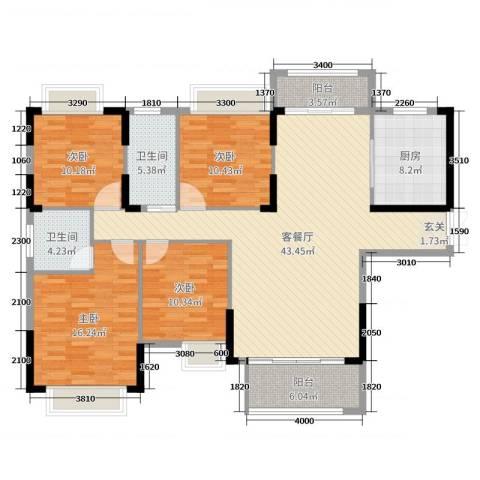 坤鑫・中央广场4室2厅2卫1厨164.00㎡户型图