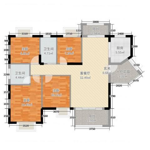 坤鑫・中央广场4室2厅2卫1厨138.00㎡户型图