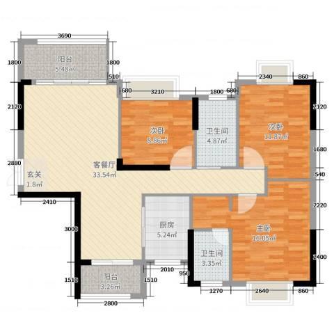 坤鑫・中央广场3室2厅2卫1厨128.00㎡户型图