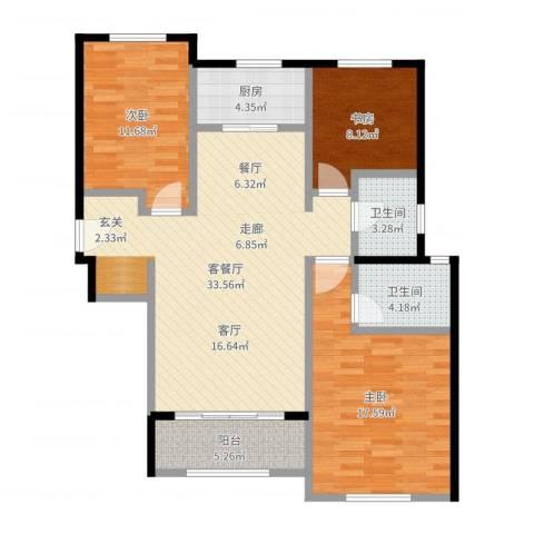 香榭水岸3室2厅2卫1厨110.00㎡户型图