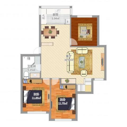 福明家园3室1厅1卫1厨104.00㎡户型图