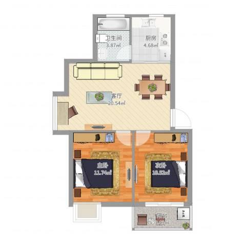 碧水和城2室1厅1卫1厨68.00㎡户型图