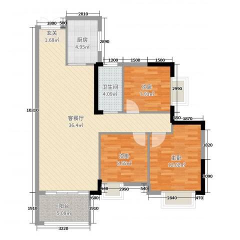 坤鑫・中央广场3室2厅1卫1厨109.00㎡户型图