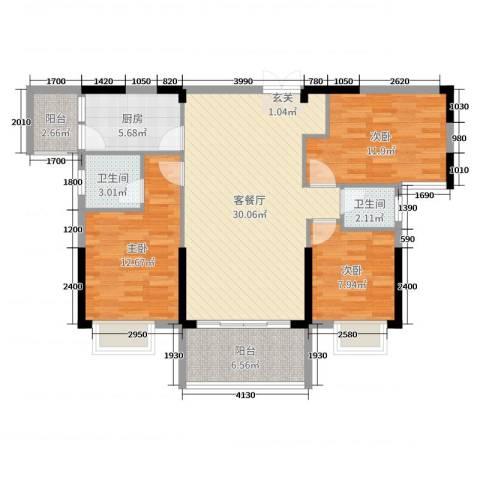 坤鑫・中央广场3室2厅2卫1厨113.00㎡户型图