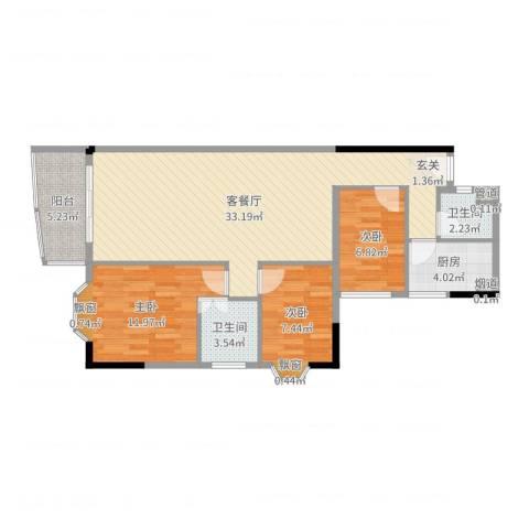 金雅苑三期3室2厅2卫1厨93.00㎡户型图