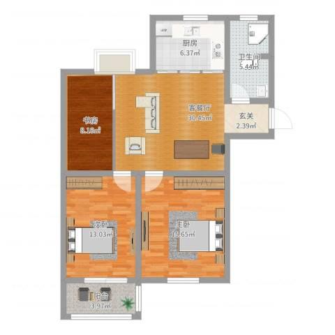 洪福小区三期2室2厅1卫1厨94.00㎡户型图