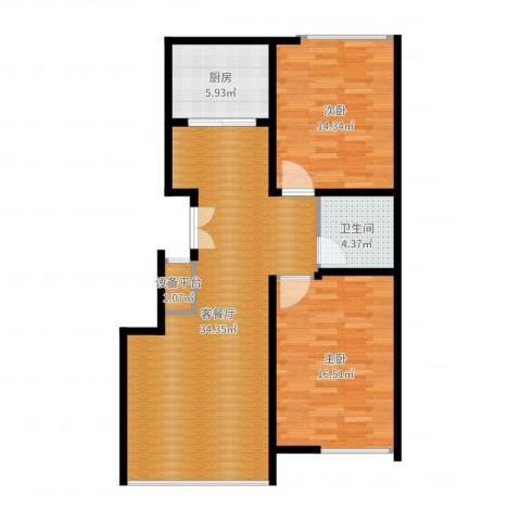 豪邦缇香公馆2室2厅1卫1厨96.00㎡户型图