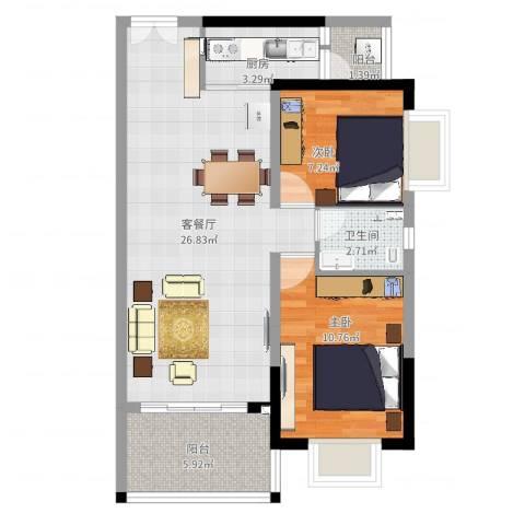 胜球阳光花园2室2厅1卫1厨73.00㎡户型图