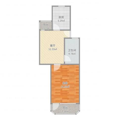 牡丹公寓1室1厅1卫1厨50.00㎡户型图