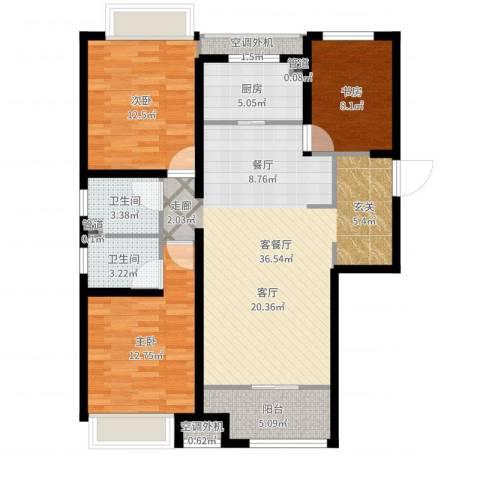 曦城花语3室2厅2卫1厨111.00㎡户型图