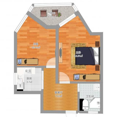 弓箭坊2室2厅1卫1厨55.00㎡户型图