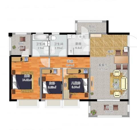 金田花园3室2厅2卫1厨110.00㎡户型图