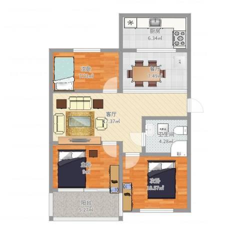 叠翠山庄3室2厅1卫1厨85.00㎡户型图