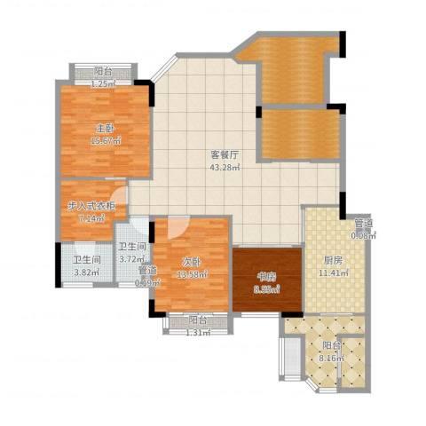 汇景新城柏菲美泉3室2厅2卫1厨170.00㎡户型图