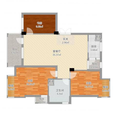 瑞景居3室2厅1卫1厨122.00㎡户型图