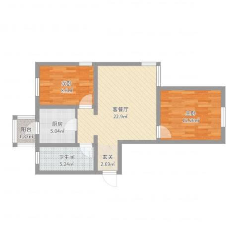 美域澜苑2室2厅1卫1厨70.00㎡户型图