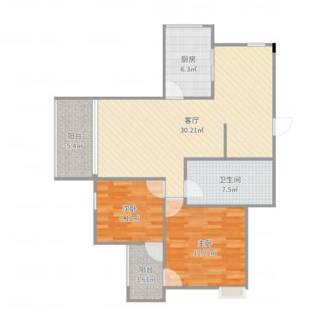 金科丽苑2室1厅1卫1厨92.00㎡户型图